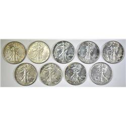 9 WALKING LIBERTY HALF DOLLARS AU