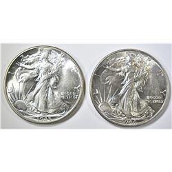 1944 & 45 WALKING LIBERTY HALF DOLLARS CH BU