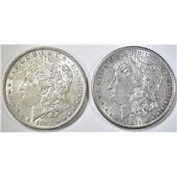 1885-O & 1881-S MORGAN DOLLARS BU TONED