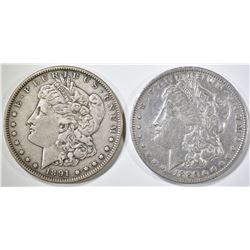1886-O cleaned & 91-S XF MORGAN DOLLARS