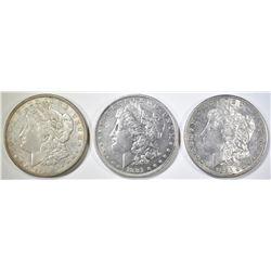 1880-S, 81-O, 21-D MORGAN DOLLARS AU/BU