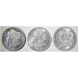 1881-S, 82-O, 83-O MORGAN DOLLARS AU/BU