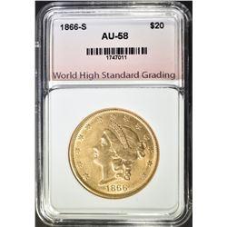 1866-S $20.00 GOLD LIBERTY, WHSG AU/BU