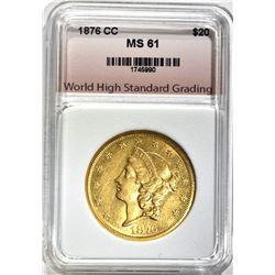 1876-CC $20.00 GOLD LIBERTY, WHSG BU