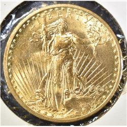 1908 $20.00 SAINT GAUDENS GOLD, CH BU