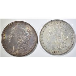 (2) 1882-S MORGAN DOLLARS  1 AU, 1 UNC