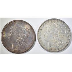 (2) 1882-S MORGAN DOLLARS  1 AU, 1 UNC
