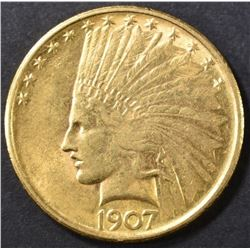 1907 $10 GOLD INDIAN HEAD  AU