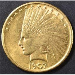 1907 $10 GOLD INDIAN HEAD  AU