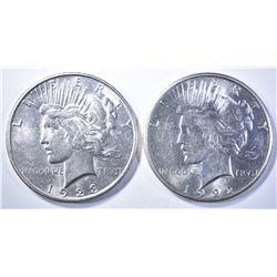 1922-S & 1923-S PEACE DOLLARS  BU