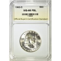 1962-D FRANKLIN HALF DOLLAR MS-66