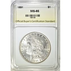 1891 MORGAN DOLLAR MS 65