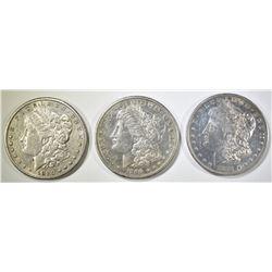 1880-S, 81-O 90-S MORGAN DOLLARS AU/BU