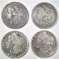 4 CIRC MORGAN DOLLARS 1900-P,O,S 01-O