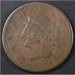 "1839 ""BOOBY HEAD"" LARGE CENT, VG"