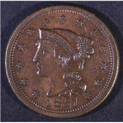 1851 BRAIDED HAIR LARGE CENT AU/BU
