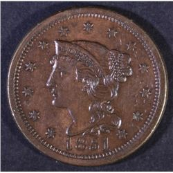 1851 BRAIDED HAIR LARGE CENT AU/BU
