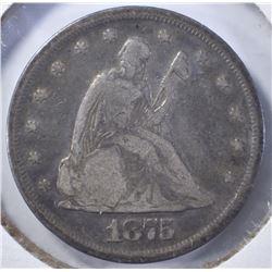 1875 TWENTY CENT PIECE, FINE