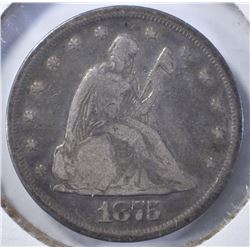 1875 TWENTY CENT PIECE, FINE