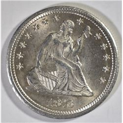 1876-CC SEATED QUARTER, CH BU FLASHY!