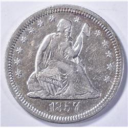 1857-O LIBERTY SEATED QUARTER XF AU