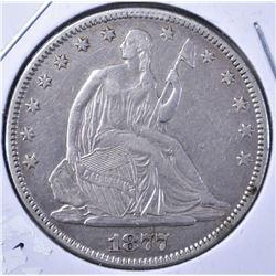1877 SEATED HALF DOLLAR, XF
