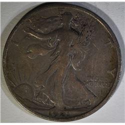 1921-S WALKING LIBERTY HALF DOLLAR, VF+  SCARCE!!!