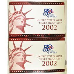 2-2002 U.S. SILVER PROOF SETS IN ORIG PACKAGING