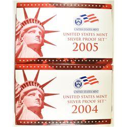 2004, 2005 U.S. SILVER PROOF SETS IN ORIG BVOX/COA