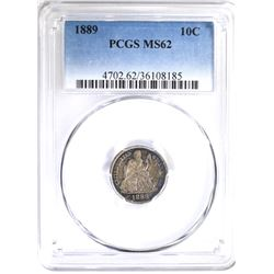 1889 SEATED DIME, PCGS MS-62