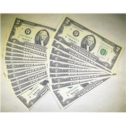 25 1995 $2.00  FRN CRISP UNC. CONSEC. NUMBERED