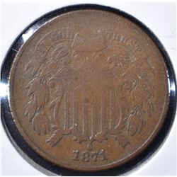 1871 2-CENT PIECE, VF KEY DATE