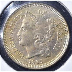 1865 THREE CENT PIECE CH BU
