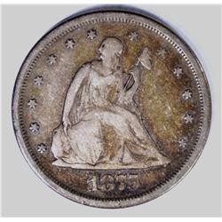 1875-S TWENTY CENT PIECE, F/VF