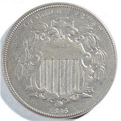 1866 WITH RAYS SHIELD NICKEL, AU/BU