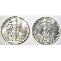 1943 & 46 WALKING LIBERTY HALF DOLLARS CH BU
