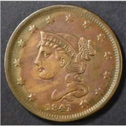 1841 LARGE CENT AU CLEANED