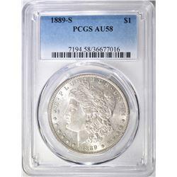 1889-S MORGAN DOLLAR, PCGS AU-58