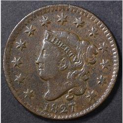 1827 LARGE CENT VF