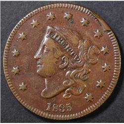 1835 LARGE CENT XF RIM CUD