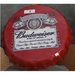 BUDWEISER STEEL BOTTLE CAP SIGN