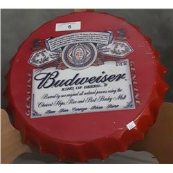 BUDWEISER STEEL BOTTLE CAP SIGN