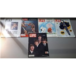 5 1950'S AND 1960'S LIFE MAGAZINES, COVERS INCLUDE BATMAN, BEATLES, CHARLIE BROWN, JFK, ETC