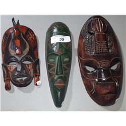 3 AFRICAN TRIBAL MASKS MADE OF WOOD