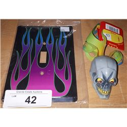 FLAMING SKULL ANTENNA BALL & METAL FLAME LIGHT SWITCH COVER