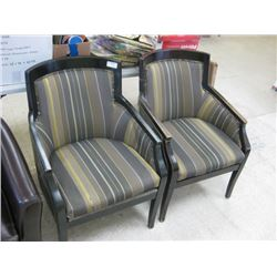 TWO USED STRIPPED SIDE CHAIRS