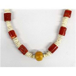 African Coral, Amber, & Shell Bead Necklace