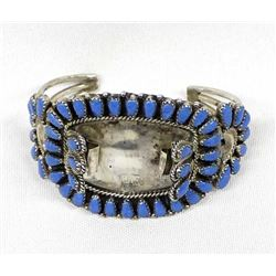 Navajo Sterling Turquoise Cluster Watch Bracelet