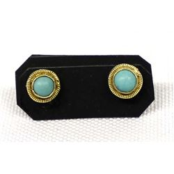 Pair of Gold Filled Turquoise Earrings