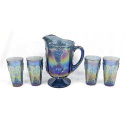 Carnival Glass Blue Iridescent Pitcher & Glasses